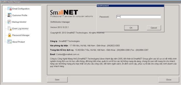 Đăng nhập phần mềm báo cáo hoạt động của máy chủ