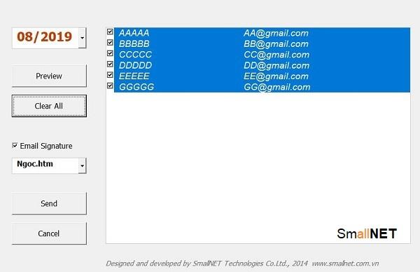 Gửi phiếu lương tới hòm thư của từng nhân viên với một click chuột