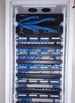 PABX and equipment are connected and installed on the rack