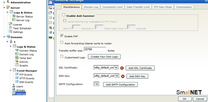 Screen of authorization to create user of FTP server