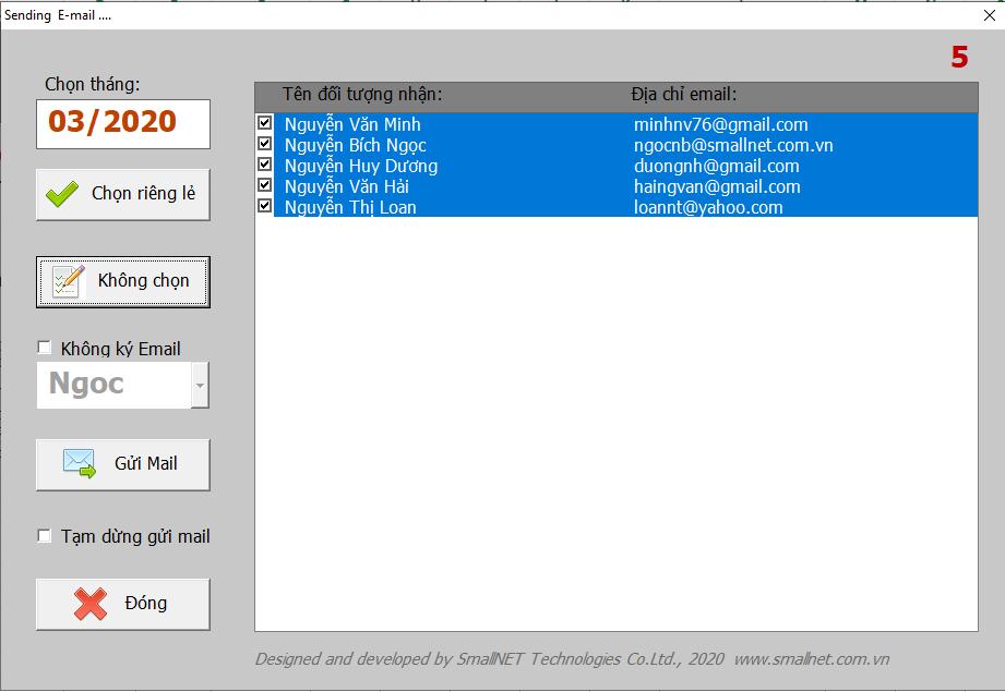 Phần mềm lập và gửi phiếu lương tự động giúp gửi phiếu lương tới hòm thư của từng nhân viên với một click chuột